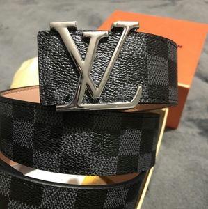 LV damier graphite black, silver buckle 115cm